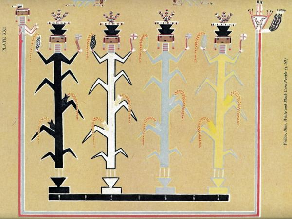 Peuple Maïs, peinture de sable de la Voie du Projectile, Franc J. Newcomb, 1937, J.J. Augustin, New York.