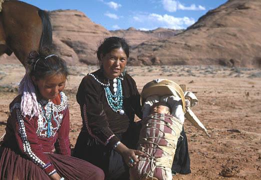 Navajo woman_ girl_ and baby