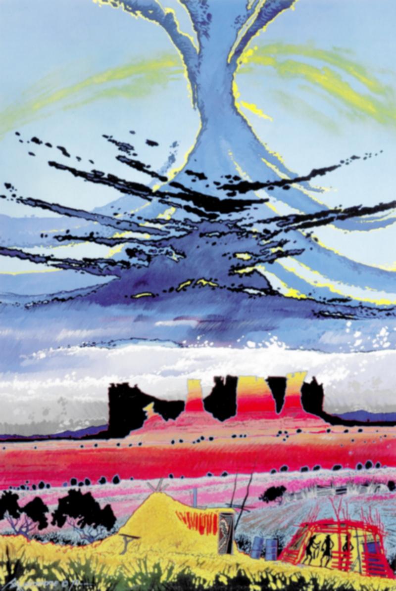 Spirits of the Last Light Steamboat, Baje explique que le ciel représente les ancêtres décédés, les esprits du passé, au premier plan on aperçoit deux yei qui se rendent dans un hogan pour une cérémonie en hiver.