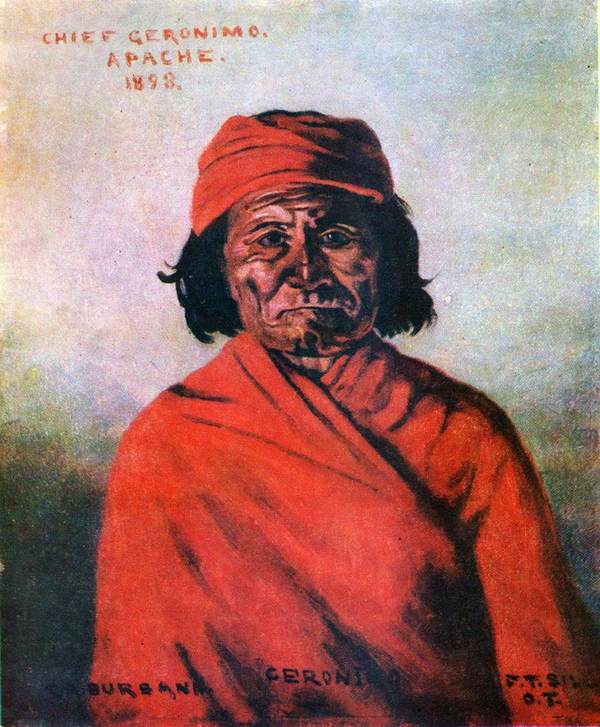Portrait de Geronimo par E.A. Burbank, 1898.
