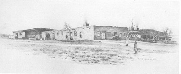 Hubbell Trading Post et enclos à moutons dessiné par E.A. Burbank.