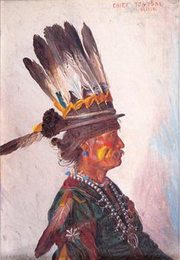 Chef Many Horses et son chapeau décoré de plumes!..., E.A. Burbank, 1907.