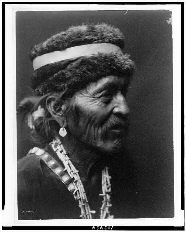 Navajo with fur cap, 1905.
