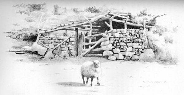 Enclos à moutons et Femme et enfant navajo par E.A. Burbank.