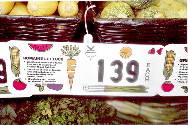 Indications diététiques au supermarché de Window Rock.