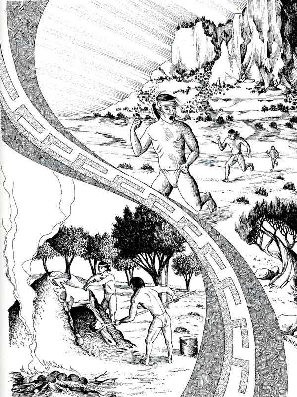 Illustration extraite de Stories of Traditional Navajo Life and Culture, Navajo Community College Press, page 259, témoignage de Jones Van Winkle