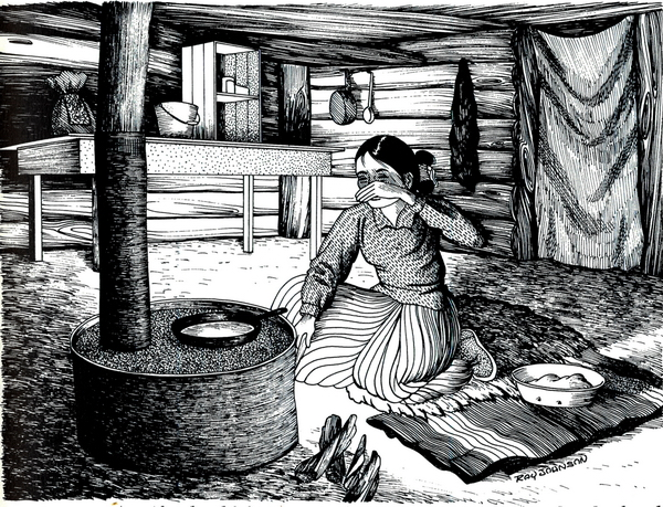 Illustration extraite de Stories of Traditional Navajo Life and Culture, Navajo Community College Press, page 117, Ashie Tsosie.