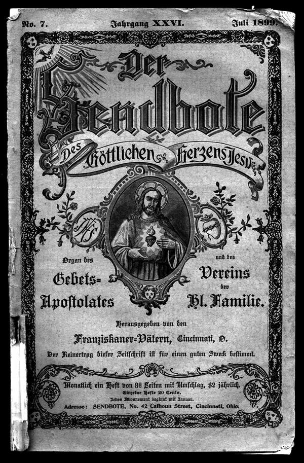 """Publication franciscaine en allemand. En juillet 1899, la revue mensuelle """"Der Sendbote des Goettlichen Herzens Jesu"""" (The Emissary of the Holy Heart of Jesus"""") proposa un compte-rendu de l'activité des franciscains en territoire navajo."""