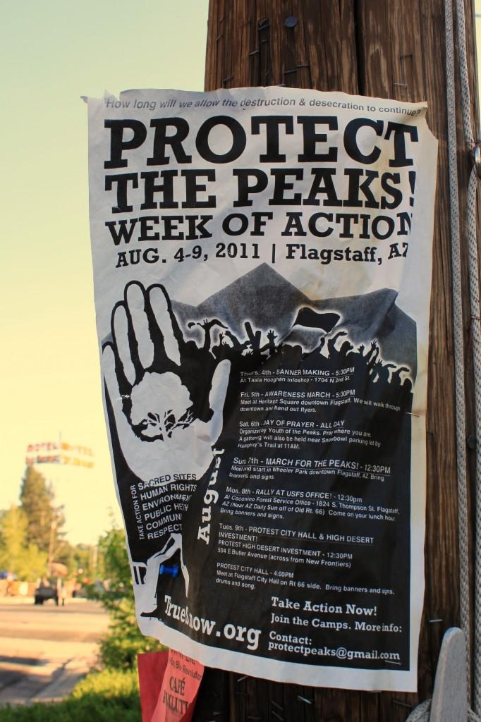 Affiche pour une manifestation contre la désacralisation des San Francisco Peaks, © Nausica Zaballos, 2011.