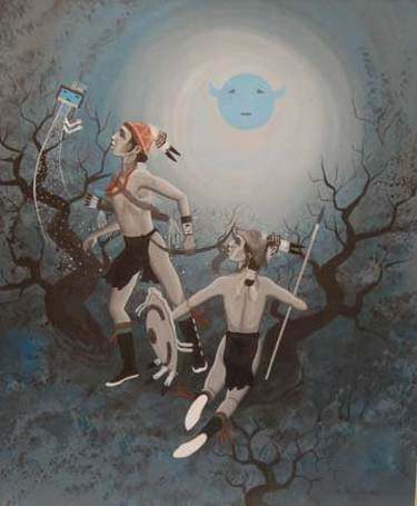 Surrealistic experiment, Sun God, Yei and warrior figures, de Harry Walters.